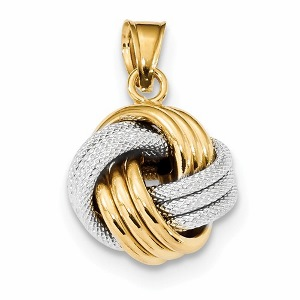 14k Two-Tone Polished Textured Love Knot Pendant with Chain
