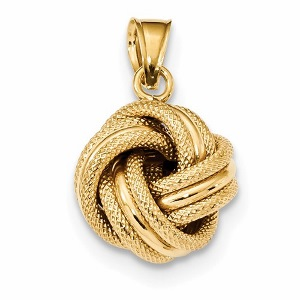 14k Polished Textured Love Knot Pendant with chain