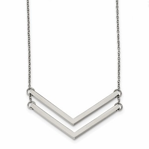 Stainless Steel Polished Double Arrow Necklace
