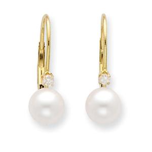 14K 6-6½mm FW Cultured Pearl and Diamond Leverback Earrings