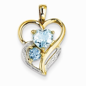 14k Diamond and Sky Blue Topaz Heart Pendant with matching Yellow Gold Chain