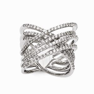 Sterling Silver Rhodium-plated polished CZ Ring