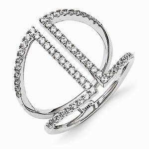 Sterling Silver Rhodium-plated polished CZ Ring.