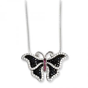 Sterling Silver & CZ Brilliant Embers Butterfly Necklace