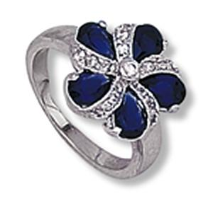 Sapphire Colored CZ and Clear CZ Pinwheel Ring