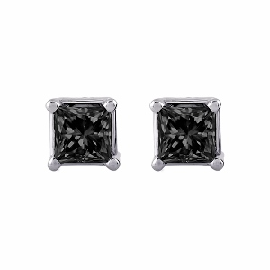 Black Diamond Earrings 1.00 carat total weight Princess-Cut 14K White Gold - Black Diamonds Studs totaling 1.00 carat in weight are perfectly captivating in these earrings for her. Crafted in 14K white gold, the earrings are secured with friction backs.