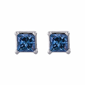 Blue Diamond Earrings 0.75 carat tw Princess-Cut 14K White Gold - Blue Diamonds Studs totaling 0.75 carat in weight are perfectly captivating in these earrings for her. Crafted in 14K white gold, the earrings are secured with friction backs.