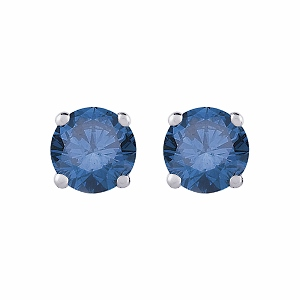 Blue Diamond Earrings 1.00 carat tw Round-Cut 14K White Gold - Blue Diamonds Studs totaling 1.00 carat in weight are perfectly captivating in these earrings for her. Crafted in 14K white gold, the earrings are secured with friction backs.