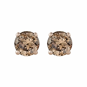 Cognac Diamond Earrings 0.75 carat tw Round-Cut 14K Yellow Gold - Cognac Diamonds Studs totaling 0.75 carat in weight are perfectly captivating in these earrings for her. Crafted in 14K Yellow gold, the earrings are secured with friction backs.