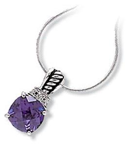 Antique Style Pendant with Round Amethyst Colored CZ and Clear CZ
