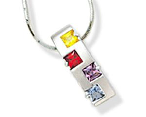 Matte with bar square multicolor CZ (yellow, garnet, amethyst, Blue Topaz)