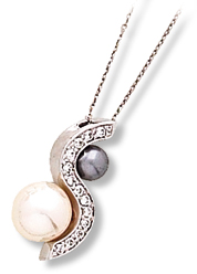 S-Shape Pendant with Imitation White and Grey Pearl