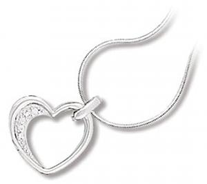 Open Floating Heart Pendant with Clear CZ