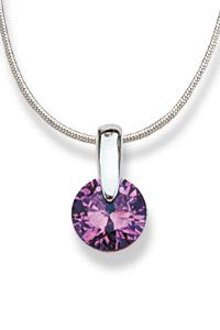 Pinpoint setting with a Amethyst colored CZ Sterling Silver Pendant