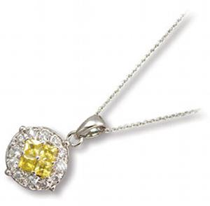Princess Cut Yellow Colored CZ with Round Clear CZ Pendant