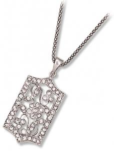 Antique Flower Pendant with Clear CZ