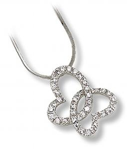 Interlocking Butterfly Heart Pendant with Clear CZ