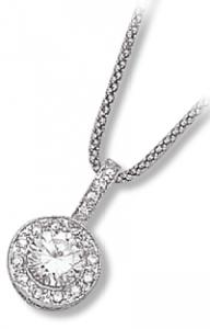 Vintage Pave with Large Round Clear CZ Pendant