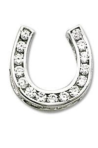 Small Channel Set Horse Shoe with Clear CZ
