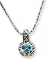 Antique Greek Key with Blue Topaz Colored CZ