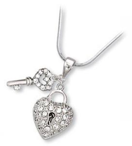 Puffed Heart Lock and Key Pendant with Clear CZ. Chain is included.