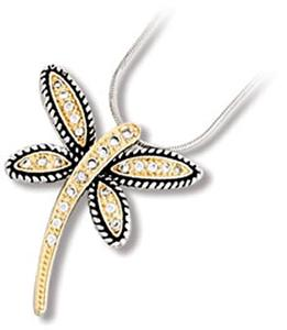 Two-Tone Dragonfly with Clear CZ Pendant