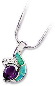 Lab Opal w/Clear CZ and a Pear Shaped Amethyst Colored CZ sterling silver Pendant