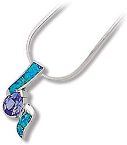 Lab Opal Design with Pearl Shape Tanzanite Colored CZ sterling silver pendant