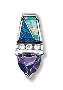Lab Opal with Clear and Amethyst CZ Pendant