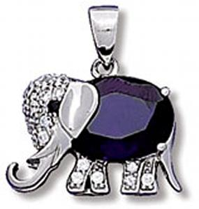 Elephant with Purple Colored CZ, Black CZ and Clear CZ