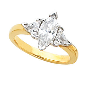 1.00 c.t.w Diamond Engagement Ring With 1/2 c.t Center Marquise Cut Diamond and two 1/4 c.t Trillion Side Diamonds in 14 Karat Yellow Gold. Made to order. Non-Refundable.