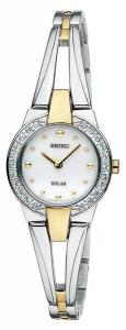 Adorn yourself with the sparkling crystals and the versatility of this Seiko steel and gold-tone bangle watch. Solar power means you never need to change a battery! Water resistant to 30 meters.