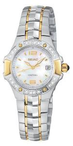 Seiko Coutura Two Tone Mother of Pearl with Diamonds Ladies Watch, SXD692 - Elegance with the contemporary sport look you crave, presenting the Ladies' Coutura collection from Seiko. Sophisticated ivory mother-of-pearl dial features a date display at the '3' marker, gold markers and hands with LumiBrite accents, and seconds hand movement. Presented by a shapely round stainless steel case with gold-tone fluted accents and a two-toned bracelet created to bring out the natural beauty in the curves of your wrist. Bezel is accented with 20 brilliant diamonds, designed to bring out the sophistication in your own distinguished tastes. Features a sapphire crystal for superior scratch resistance and a cabochon crown. Water resistant to 100m., and features a screw-down crown.