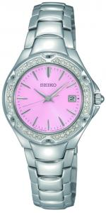 This charming watch features a pink dial and is accented with 30 sparkling Swarovski crystals.