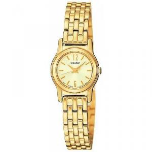 Add classic style to your everyday couture with the round Seiko SXGM06 gold-tone stainless steel women's watch. Its round watch case measures 0.78 inches in diameter and is highlighted by a polished gold-tone bezel. The gold dial background is accented by gold-tone thin stick dial markers and baton hands, and it includes Arabic numerals at 6 and 12 o'clock. The bracelet band is composed of gold-tone stainless steel links with polished highlights, and it's joined by a jewelry clasp. Other features include Japanese quartz movement, a scratch-resistant sapphire crystal, and water resistance to 30 meters