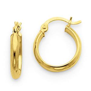 14 Karat Tubular Gold  Earrings                                                    -                                              Sweet and cute these 14 karat polished yellow gold flow through these adorable hoop earrings. Petite and feminine, this style will compliment every fashion.