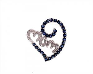 Sapphire and diamond MOM Pendant with chain