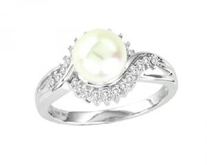 14K 0.23CT DIAMOND WHITE PEARL RING