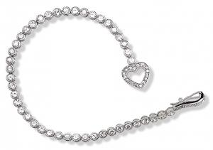 7 Inch Bezel Set Mini Heart Bracelet with White CZ, Sterling Silver