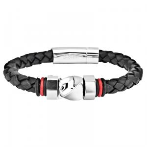 Men's braided leather bracelet with a polished steel bolt designs in the middle and small rubber stopper on each side.