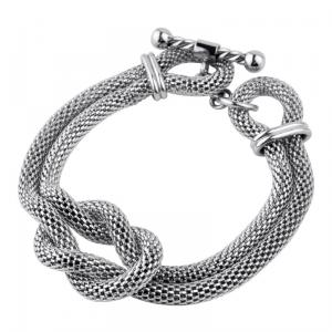 Women's stainless steel double mesh chain bracelet with a Hercules knot in the center.