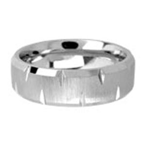 Men's cobalt chrome ring in dual finish with small polished cuts on the sides.Cobalt Chrome has a bright, white mirror-like shine. This strong contemporary metal is durable, dense and similar in weight to gold. Cobalt Chrome Band will not chip, break or shatter. Occasional polishing may be required.