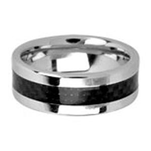 Men's cobalt chrome ring in dual finish with black carbon fiber inlayed.Cobalt Chrome has a bright, white mirror-like shine. This strong contemporary metal is durable, dense and similar in weight to gold. Cobalt Chrome Band will not chip, break or shatter. Occasional polishing may be required.